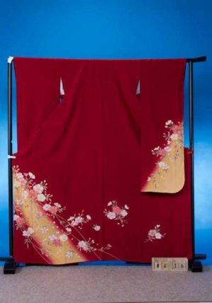 F416トール振袖レンタル 裄69(身長149-169ヒップ73-103)赤系 八重桜