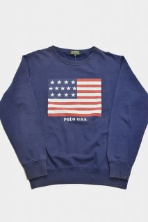 90s ポロカントリー 星条旗プリント スウェット<BR>POLO COUNTRY AMERICANFLAG PRINT SWEAT SHIRT