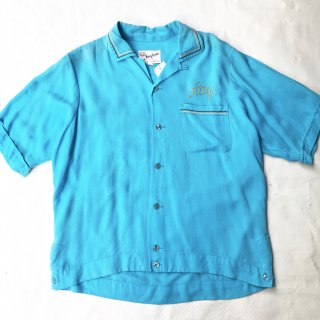 60s ヴィンテージ  ボーリングシャツ (ブルー)<BR>60s VINTAGE BOWLING SHIRT (BLUE)
