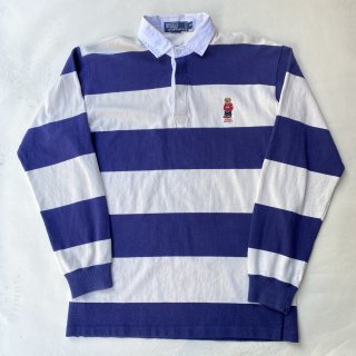 90s ポロベアー  ワンポイント ラガーシャツ<BR>VINTAGE POLO BEAR ONE POINT RUGER SHIRT