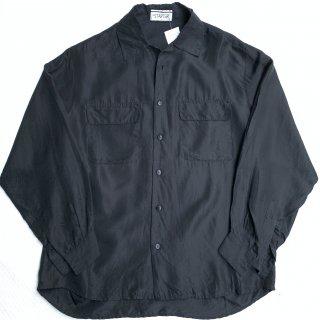 80s オープンカラー シルクシャツ<BR>80s VINTAGE OPEN COLLAR SILK SHIRT