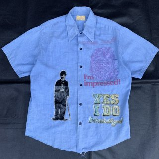 70s VINTAGE SEARS CHAPLIN LAME PRINT CHAMBRAY SHIRT<BR>70s ヴィンテージ シアーズ ラメプリント チャップリン シャンブレーシャツ