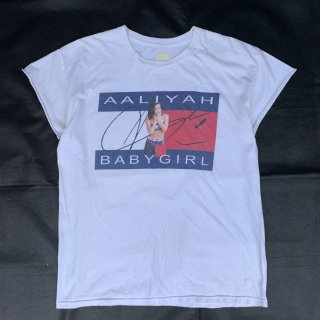 90s VINTAGE AALIYAH TOMMY HILFIGER CUT OFF T-SHIRT<BR>90s アリーヤ トミーヒルフィガー カットオフ Tシャツ