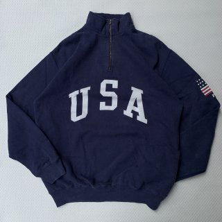 90s VINTAGE POLO RALPH LAUREN USA HALF ZIP SWEAT SHIRT