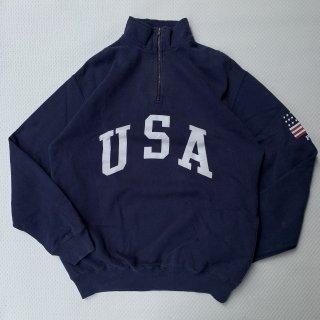 90s VINTAGE POLO RALPH LAUREN USA HALF ZIP SWEAT SHIRT