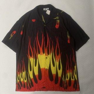 90s VINTAGE KAPAL<BR>FIRE PATTERN<BR>S/S RAYON SHIRT<BR>90s KAPAL<BR>ファイヤーパターン<BR>半袖シャツ