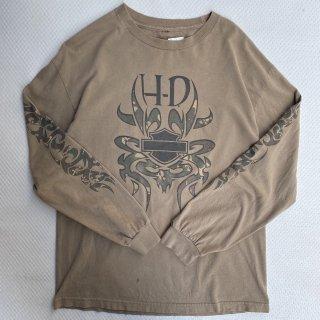 HARLEY DAVIDSON<BR>LONG BRANCH Tee<BR>ハーレーダヴィッドソン<BR>Tシャツ ベージュ