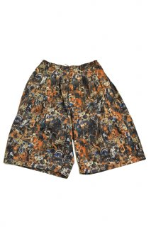 80s DEAD STOCK STUSSY GOTHIC PATTERNED SHORTS<BR>デッドストック ステューシー ゴシック柄 ショーツ