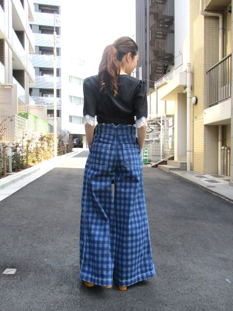 5-knot / ファイブノット GINGHAM-CHECK DENIM TROUSERS