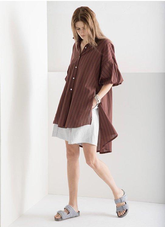 Styling/スタイリング  パフスリーブロングシャツ