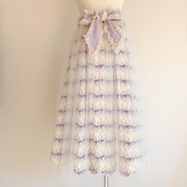 ねこちゃんのリボンスカート(ラベンダー丈約80cm)