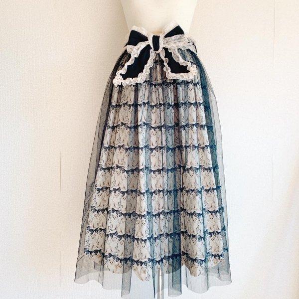 ねこちゃんのリボンスカート(ブラック丈約80cm)