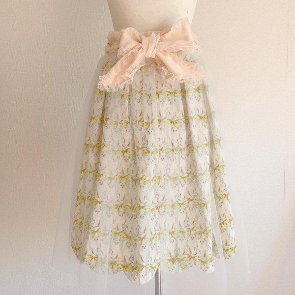 ねこちゃんのリボンスカート(イエロー丈約65cm)
