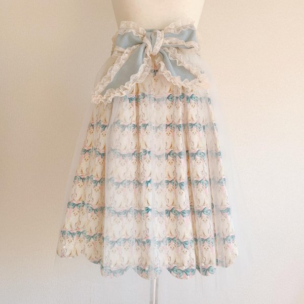 ねこちゃんのリボンスカート(ブルー×ピンク丈約65cm)