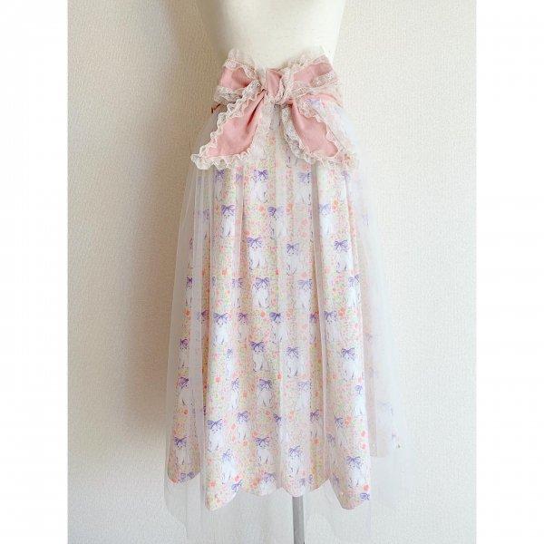 【受注制作】ねこちゃんのリボンスカート(丈約80cm)