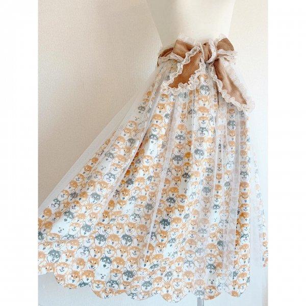 【受注制作】わんちゃんぎゅうぎゅうチュールスカート(丈約80cm)