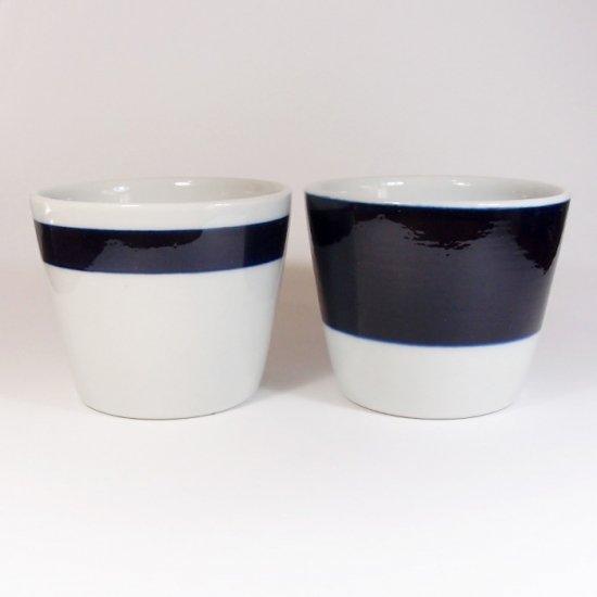 白青|蕎麦猪口(縞柄・細)【砥部焼】