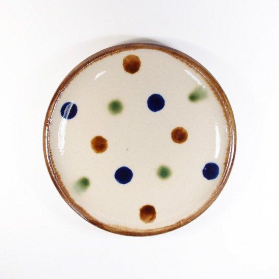 エドメ陶房(川上真悟)|5寸皿(水玉)【やちむん】