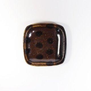 sunny-craft(サニークラフト)|豆皿 チョコレート釉 ラインドット