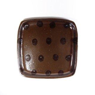 sunny-craft(サニークラフト)|パン皿 チョコレート釉 ドット