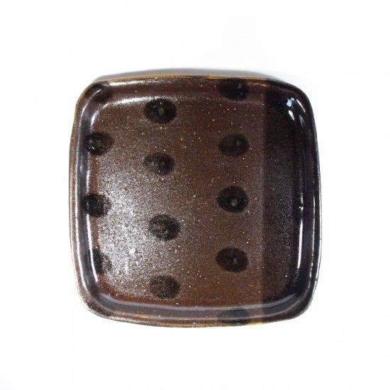 sunny-craft(サニークラフト)|パン皿 チョコレート釉 ラインドット