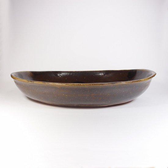 sunny-craft(サニークラフト)|カレー皿大 チョコレート釉 ドット