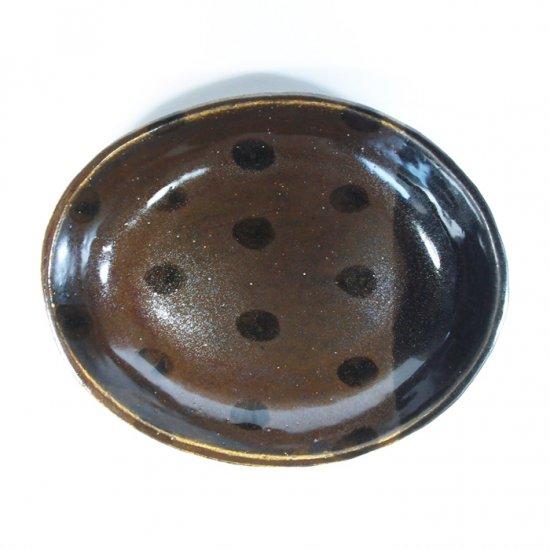 sunny-craft(サニークラフト)|カレー皿大 チョコレート釉 ラインドット