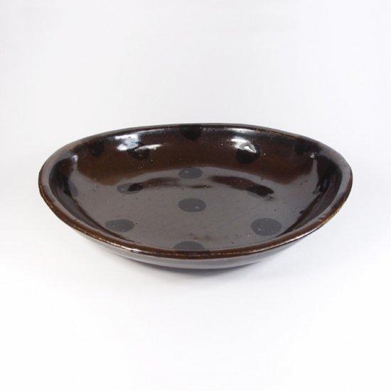 sunny-craft(サニークラフト)|カレー皿中 チョコレート釉 ドット