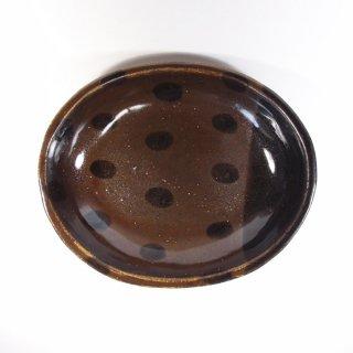sunny-craft(サニークラフト)|カレー皿中 チョコレート釉 ラインドット
