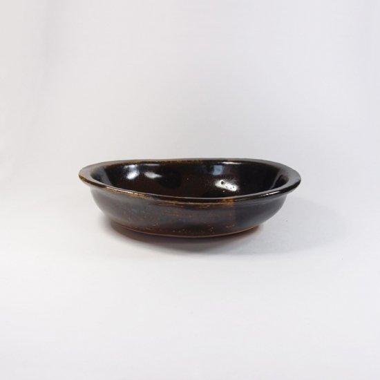 sunny-craft(サニークラフト)|カレー皿小 チョコレート釉 ラインドット