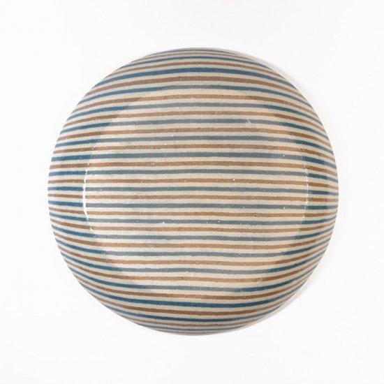 坂下花子|練り込み 丸皿 青縞