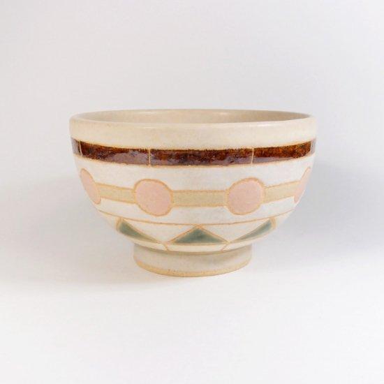 古川真紀子|幾何学文様 茶碗(白)C