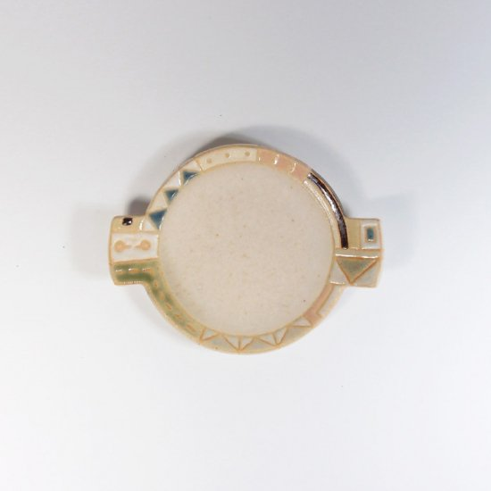 古川真紀子|幾何学文様 丸豆皿(白)