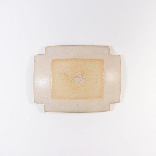 古川真紀子|幾何学文様 角豆皿(白)