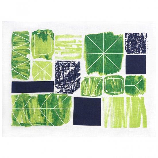 【クリックポストOK】EFUKiN(絵ふきん)|Happa tile (green)【ふきん・キッチンクロス・ランチョンマット】