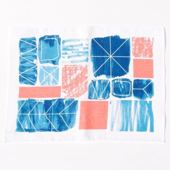 【クリックポストOK】EFUKiN(絵ふきん)|Happa tile (pink)【ふきん・キッチンクロス・ランチョンマット】