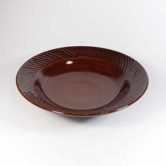 比呂|しのぎ丸皿 (茶)【笠間焼】