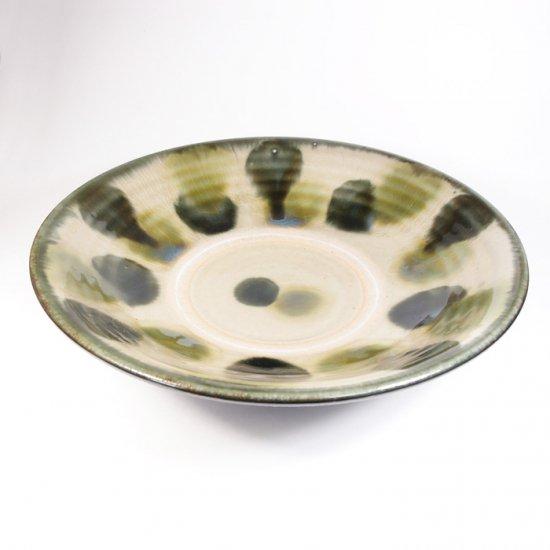 やちむん與那城(與那城 徹)|7寸皿 重ね焼き 緑ゴス点打【やちむん】