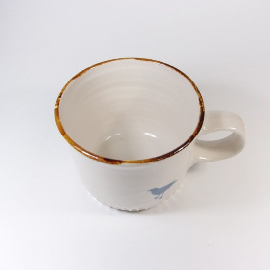 原村俊之│うろこ コーヒーカップ ホワイト 染付(トリ)【磁器】