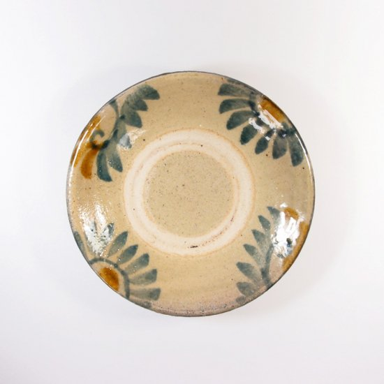 照屋窯(てるやがま)│4.5寸皿 唐草模様 重焼【やちむん】