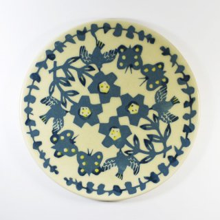 諏佐知子|6寸皿 鳥と草花と蝶 ブルー
