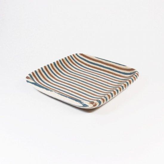 坂下花子|練り込み 練り込み 角小皿 青縞