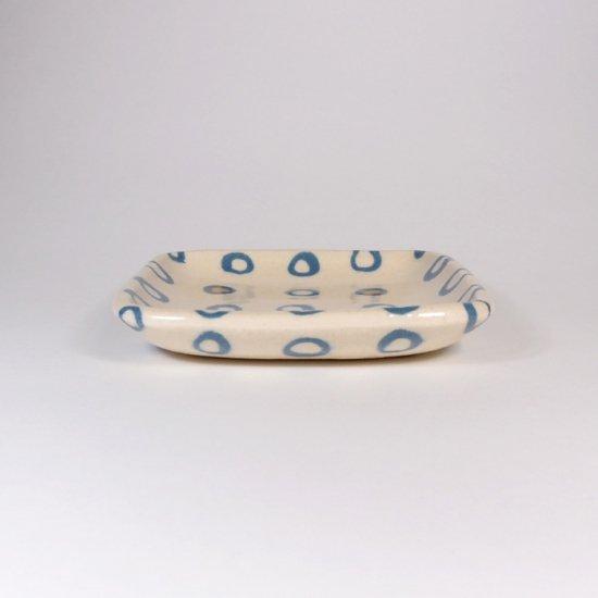 坂下花子|練り込み 練り込み 角小皿 輪ならべ 白