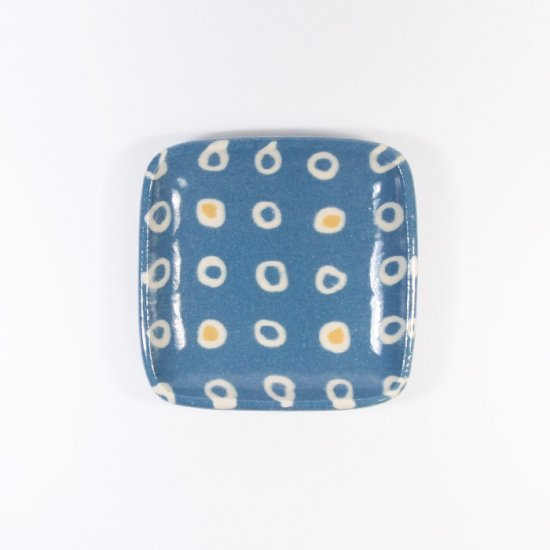 坂下花子|練り込み 練り込み 角小皿 輪ならべ 青