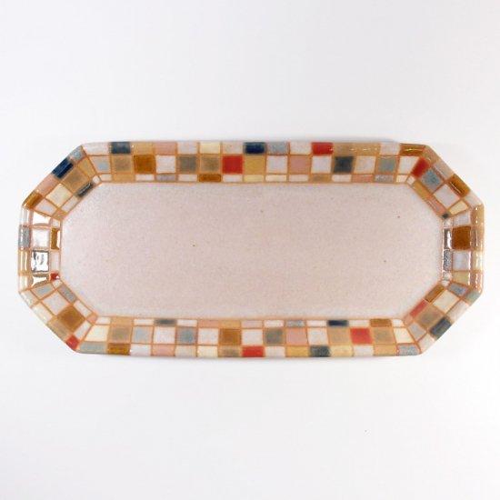 古川真紀子|モザイクタイル文様 八角形長皿