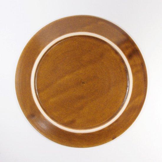 はしもとさちえ│6寸リム皿(茶・彫)