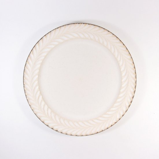 はしもとさちえ│5寸リム皿(白・彫)