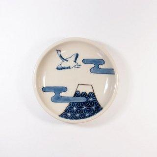 中川ひかり|3寸皿 鶴と富士 【18】