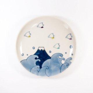 中川ひかり|4寸皿 千鳥と波と富士 【24A】