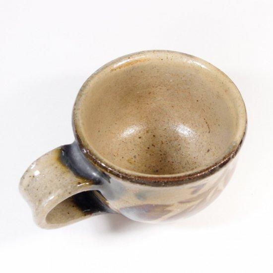 照屋窯(てるやがま)│カップ&ソーサー 重焼 唐草 アメ【やちむん】